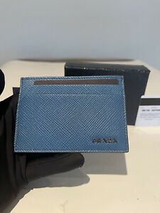 NWT Men's Prada 2MC149 Saffiano Cobalto (BLUE) Card Holder Wallet