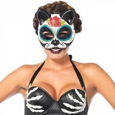 Sugar Skull Cat Costume Mask Adult Day of The Dead Dia de Los Muertos Halloween