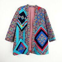 Vintage Handmade Corduroy Jacket Blazer Large Floral Teal Red Boho Hippy