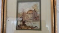 Antique 1884?Watercolor Painting Country Barn House Mill Wheel River Boy Framed