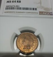 1907 Indian Head Copper Cent NGC MS64 RB ATTRACTIVE PROBLEM FREE NEAR  RED