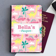 Personalised Girls Dinosaur Dinosaurs Pink Kids Children's Passport Holder Cover