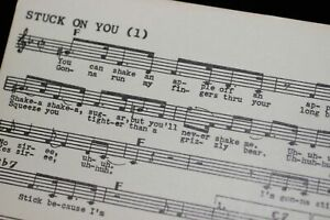 Elvis Presley Vintage 1960 STUCK ON YOU Song Card Tune-Dex Music Publisher