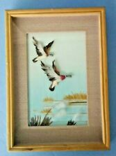 VINTAGE 3-D DUCK PICTURE MADE WITH BIRD FEATHERS UNIQUE Clearance