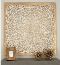 Large Rustic Decorative Square Wood Carved Scroll Lacework Wall Panel Home Decor