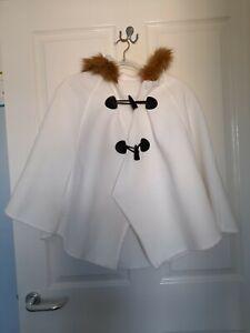 Luxury Toggle Cape Faux Fur Trim Winter autum Cape Poncho Ladies Wrap One Size