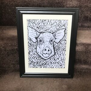 ORIGINAL Abstract Pig Framed 8.5x11 Art Ink Drawing Farm Animal Country Hog Oink