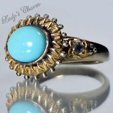 Barbara Bixby Turquoise & White Topaz Sterling 18K Gold Ring Size 6