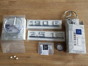 Mercedes-Benz W201 190E 2.5-16 Rear badge Trunk logo emblem set + grille badge
