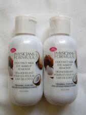 Lot of 2 Physicians Formula Coconut Milk Eye Makeup Remover 2 fl oz Each