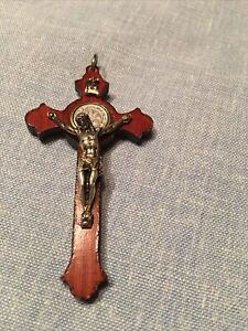 Wooden Crucifix Cross Jesus Christ St Benedict Pendant Necklace