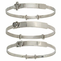 STERLING SILVER BABY BANGLE EXPAND IDENTITY BRACELET CHRISTENING FREE ENGRAVING
