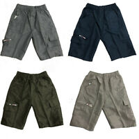 Boys Cotton Shorts Chino Summer Knee Length Bottoms Kids Cargo Combat Grey Khaki