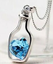 "Crystal Blue Heart In A Bottle With Diamanté Rhinestones Necklace 18"" Valentine"