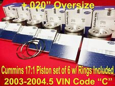 Dodge CUMMINS 5.9 5.9L PISTONS +.020 2003-04 w/rings MAHLE Matched/Balanced Set6