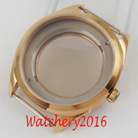 42MM Sapphire Glass Stainless Rose Gold Plated Watch Case Fit NH35 NH36 movement