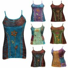 Womens Floral Blouse Hippie Summer Tank Tops Festival Cami Emo Goth Boho Vest