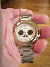 GUESS MOON PHASE UNISEX WATCH SILVER TONE DEPLOYMENT BAND-GOLD TONE MARKERS RUN