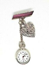 HEART Locket filigree silver brooch Watch nurse  fob watch  uniform pocket LOVE