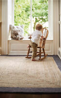 Origin Jute Borders Rug Grey, Hand Braided Made From Natural Fibres 3 Sizes