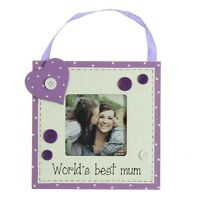 "Worlds Best Mum 3"" x 3"" Wooden Photo Frame Gift By Juliana Gifts"