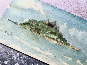 Small Watercolour Painting - St. Michael's Mount Cornwall - Signed - Gill Nagle