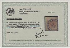 1850 3kr, ROSAROT! Dr.Ferch:120,-€! BLAUSTEMPEL RICHENBURG (B) Mü:80Punkte! VÖB