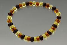 Button Shape Beads Genuine Baltic Amber Stretch Bracelet 6.3g b170607-27