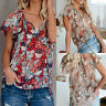 Summer Floral V Neck Blouse T Shirt Women's Casual Loose Short Sleeve Tops Tees