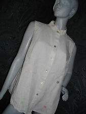 * E.COL.O.GIE* BEIGE LINEN TOP / TUNIC WITH EMBROIDERY SIZE XL NEXT DAY DELIVERY