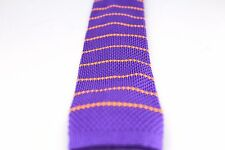 """Horizontal Stripe Knit Knitted Neck Tie Woven Slim Square 2.5"""" Purple Yellow"""