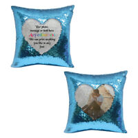 Personalised blue sequin cushion cover with any photo / gift message - su427