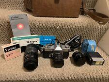 Vintage Yashica Tl-Super 35mm Slr Film Camera with Lenses, Flash, Case