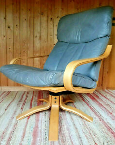 Vintage Chair Swivel Chair Leather 60er Relax Easy Chair Gray Westnofa Age 60s