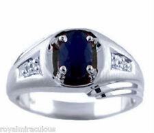 Mens Sapphire & Diamond Ring 14K White Gold