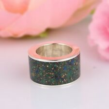 Copper Azurite Malachite Band Ring 925 Silver Mens Anxiety Thumb Band Ring