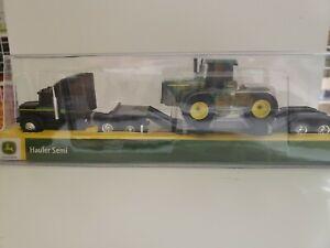 John Deere by Tomy Freightliner Hauler Semi Trailer 2 Tractors 1:64 Scale New