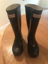 HUNTER KIDS BLACK TALL ORIGIONAL RAINBOOTS WITH SIDE BUCKLE AND REFLECTORS SIZE