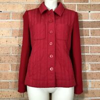 Sigrid Olsen Size Small Puffer Quilted Sweater Sleeve Jacket Red Casual -Q