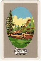 Playing Cards Single Card Old Vintage COLES Mobile CRANES Advertising Logging 4
