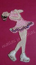 IRON ON SPARKLY WHITE/PINK EMBROIDERED PATCH BADGE APPLIQUE TWIRLING ICE SKATER