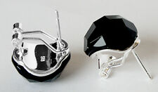 With Black Faceted Agate Stud Earring New Fashion Pretty 925 Sterling Silver