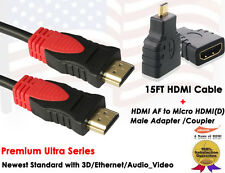 15FT 1.4 Gold Plated HDMI Cable +HDMI to Micro HDMI F/M Adapter