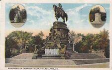 Antique POSTCARD c1922 Monuments in Fairmount Park PHILADELPHIA, PA PENN.