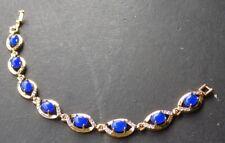 Gold Plate Blue JADE Cabochon Bead Bangle Bracelet Diamond Imitation 320787