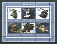 Guinea-Bissau 2001  Various Helicopters  MNH Miniature Sheet of 6