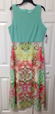 Women's Size 14 Sleeveless Maxi Dress By Studio One - Mint Green / Floral Skirt