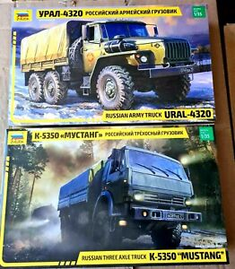 Zvezda Russian Trucks Set 3654 & 3697 - URAL - 4320 & K-5350 Mustang 1/35