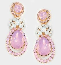 "2"" Long Light Pink Gold Drop Crystal Rhinestone Pageant Dangle Pierced Earrings"