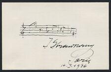"""Igor STRAVINSKY (Composer): Autograph Musical Quotation from """"Persephone"""""""